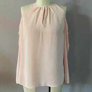 1.State open shoulder pink long sleeved blouse
